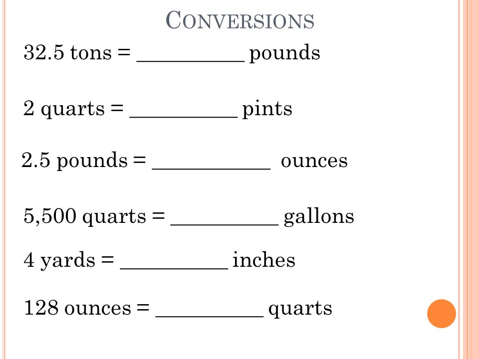 Conversions Learn to convert between and within the US Customary – Customary Conversions Worksheet