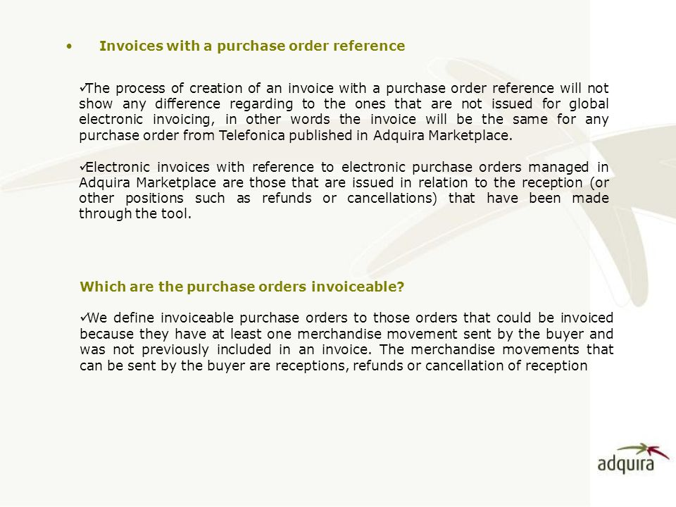 Invoices With A Purchase Order Reference