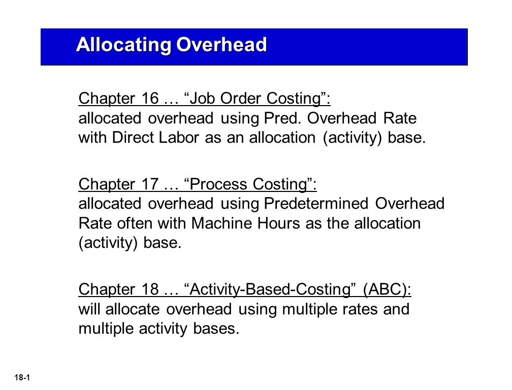 what is overhead allocation