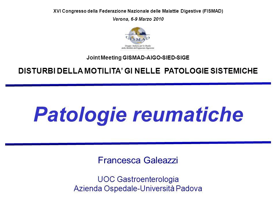 Patologie reumatiche Francesca Galeazzi