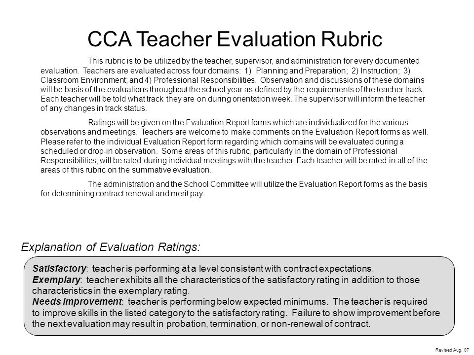 Cca Teacher Evaluation Rubric  Ppt Video Online Download