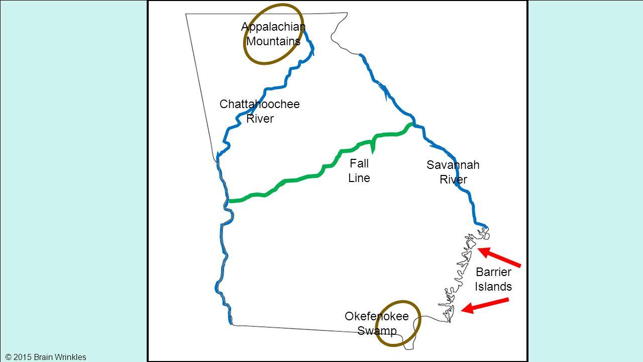 Georgias Physical Features SSGc Brain Wrinkles Ppt - Georgia map savannah river