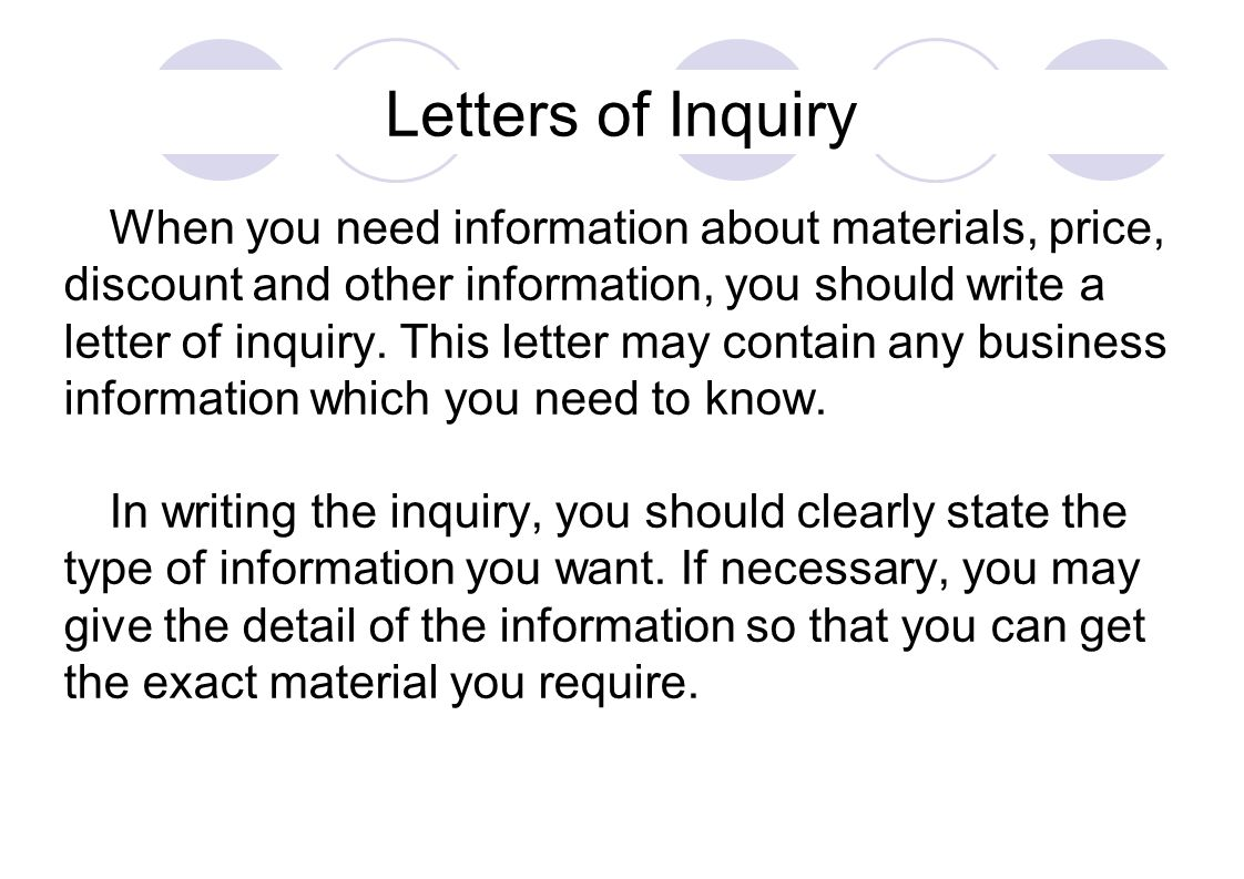 Letters of Inquiry discount and other information you should