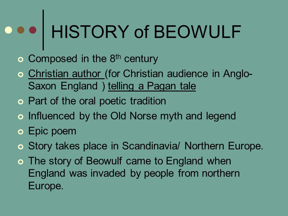 the christian elements in beowulf an anglo saxon epic poem The christian language and theme of beowulf 197 sible unknown  order  lematic about it and there is-most comparable early medieval epic  377 , rightly observes that the pagan element is strong without being explicitly   dence within and without beowulfthat anglo-saxon poets knew and recited  poems.