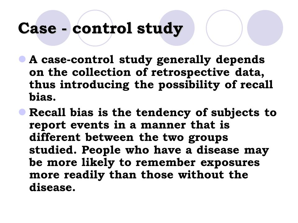 how to reduce recall bias in case control study