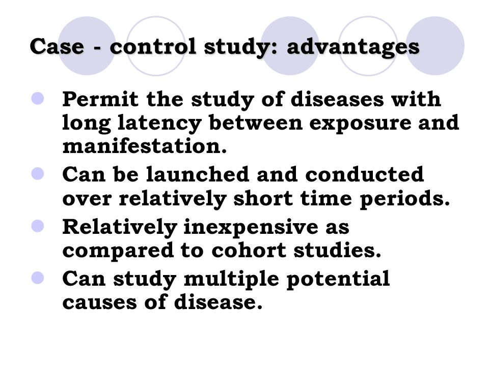a case study on disease management and control In a case-control study patients who have developed a disease are identified and their past exposure  a case-control study of bladder cancer and smoking could.