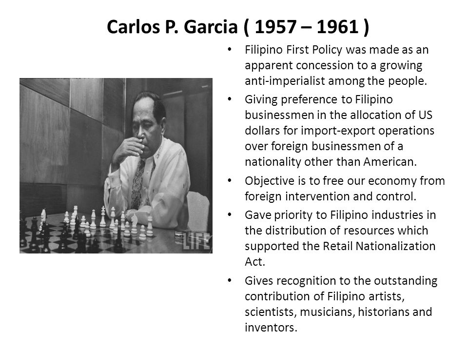 contribution of carlos p garcia Best answer: carlos polistico garcia (november 4, 1896 – june 14, 1971) was the 8th president of the philippines (1957-1961) his.