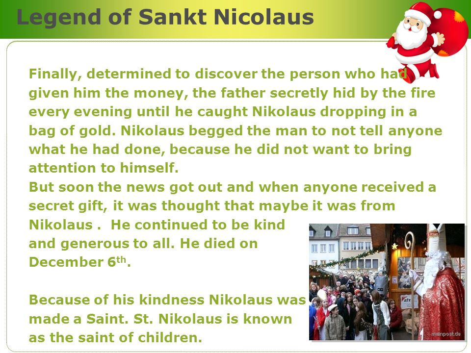 Legend of Sankt Nicolaus