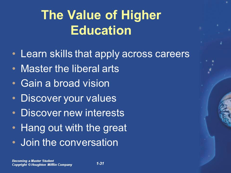 the value of higher education for The true value of higher ed  american higher education is an engine of social mobility and personal opportunity that both provides leadership in confronting our .
