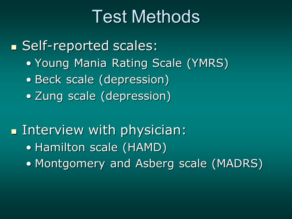 hamilton depression scale Anxiety, somatic _____ physiological concomitants of anxiety such as: • gastrointestinal: dry mouth, wind, indigestion, diarrhea, cramps, belching.