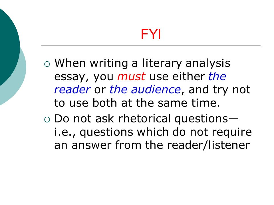 notes on ldquo macbeth rdquo essay ppt fyi when writing a literary analysis essay you must use either the reader or the