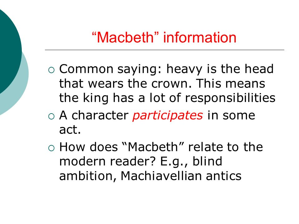 "notes on ""macbeth"" essay ppt  macbeth information"