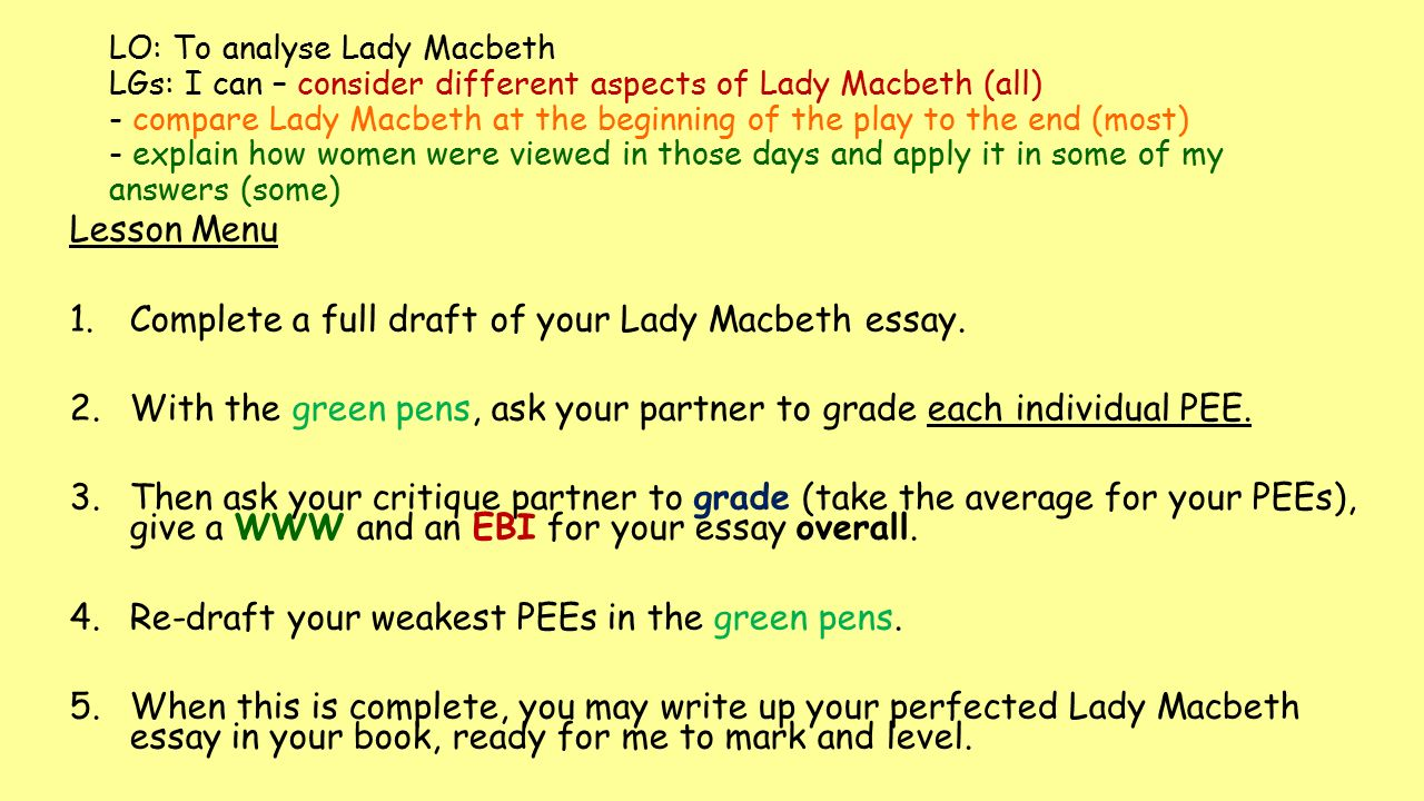 lo to analyse lady macbeth lgs i can consider different  complete a full draft of your lady macbeth essay