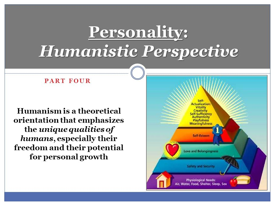 humanistic perspective on personality Introduction to psychology of personality      humanistic theories    ‎  in his  theory, maslow outlined various human needs and arranged ranked them.
