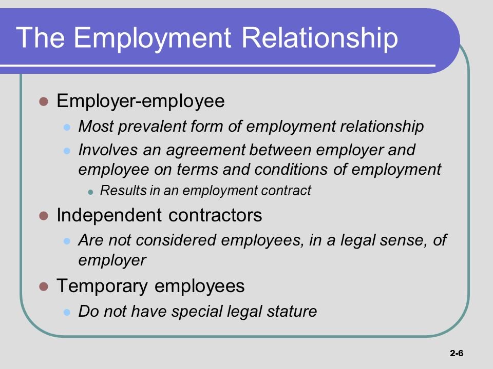 employment relationship and contract