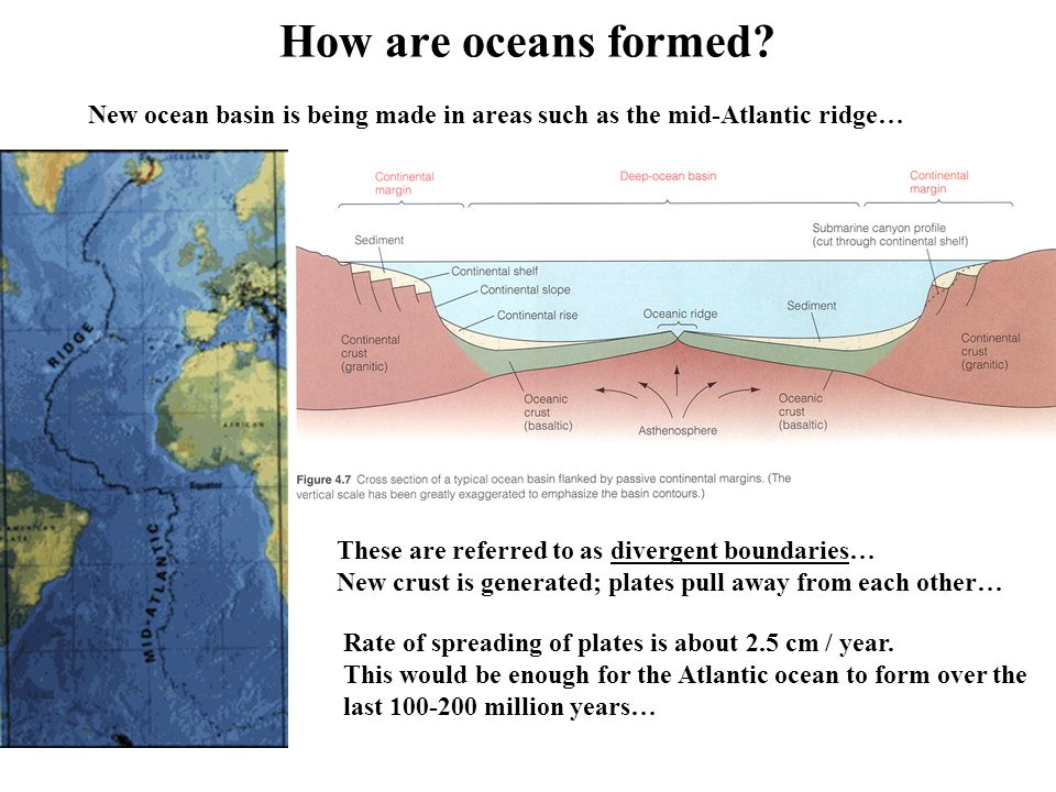 How are oceans formed? Continents and ocean basins exist on ...