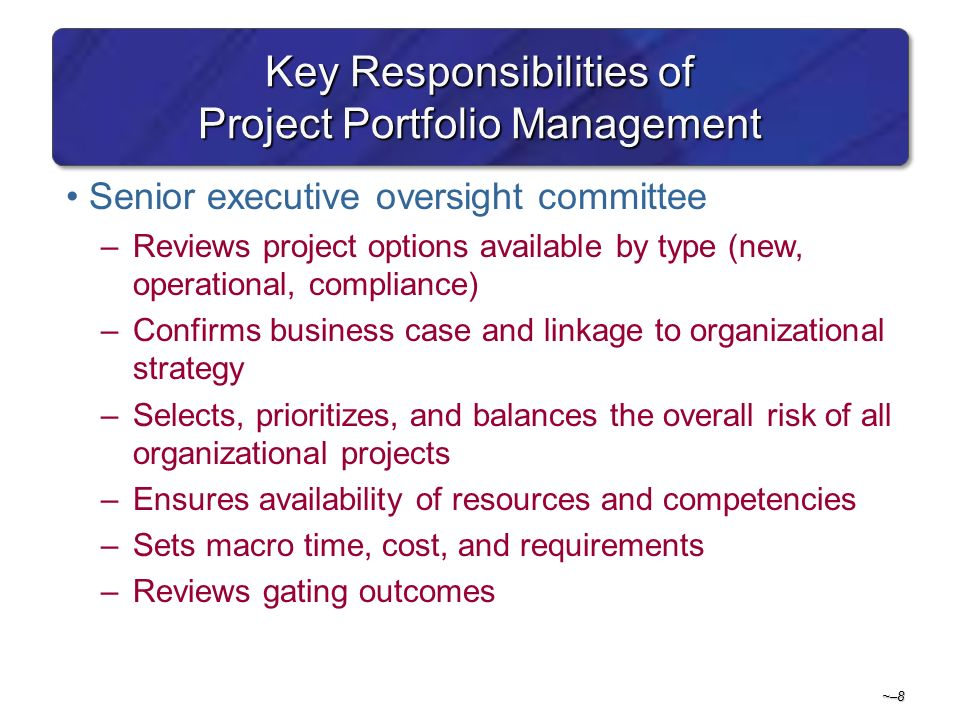 key project management responsibilities So what, exactly, are a project manager's responsibilities  once the charter is  approved, project managers work with key stakeholders to.