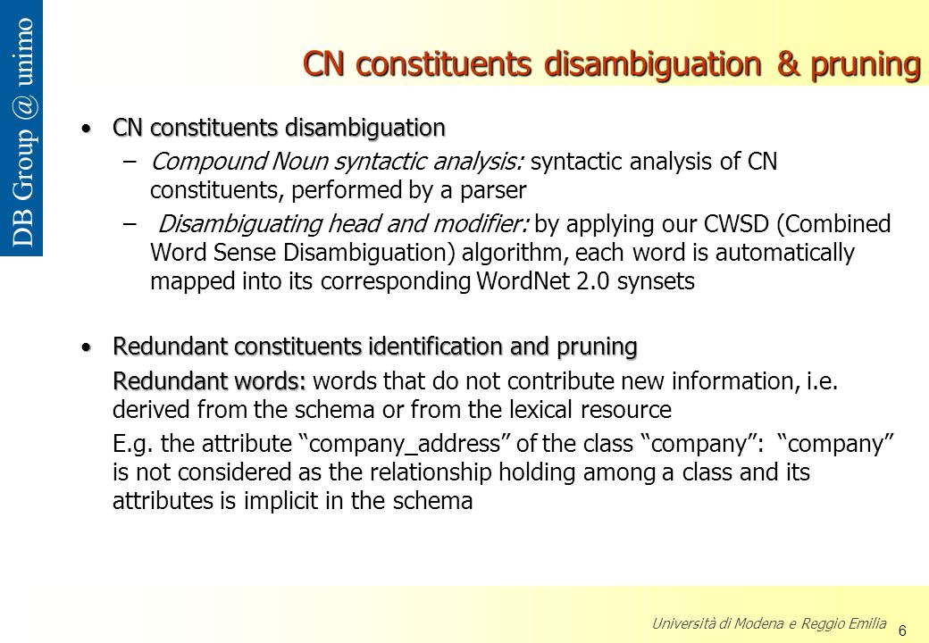 CN constituents disambiguation & pruning