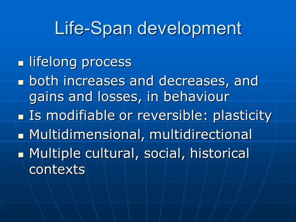life span development and personality Life span development and personality presentation agenda nature vs nurture family issues and social support influences family issues: parents argued a lot.