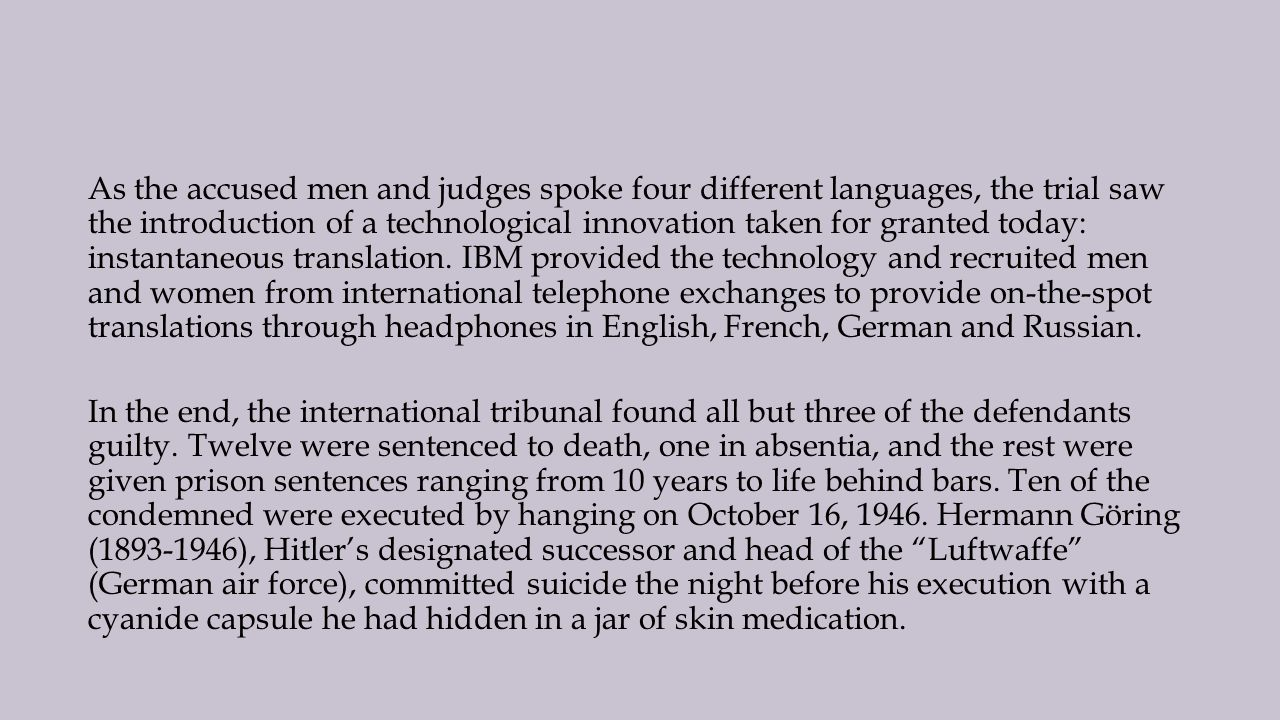 an introduction to the criminals condemned to death at the nuremberg trials The nuremberg trials is the general name for two sets of trials of nazis involved in crimes committed during the holocaust of world war ii the first, and most famous, began on november 20, 1945 the first, and most famous, began on november 20, 1945.