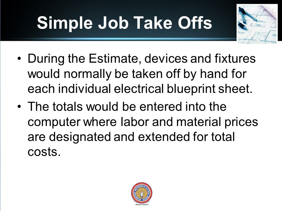 Understanding the estimate part 1 foremans development series simple job take offs during the estimate devices and fixtures would normally be taken off malvernweather Images