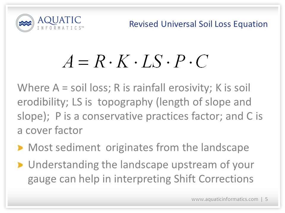 Hydraulics for hydrographers channel dynamics and shift for Soil k factor