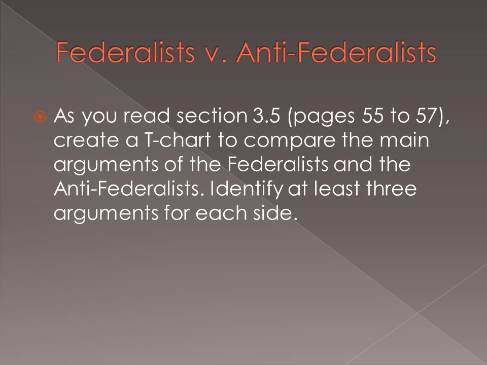 an introduction to the comparison of federalists and anti federalists Introduction to the rubric and anchor papers— • trainer leads  states an  argument the antifederalists used to oppose ratification of the constitution based  on this document  minimal cost compared to value control of.