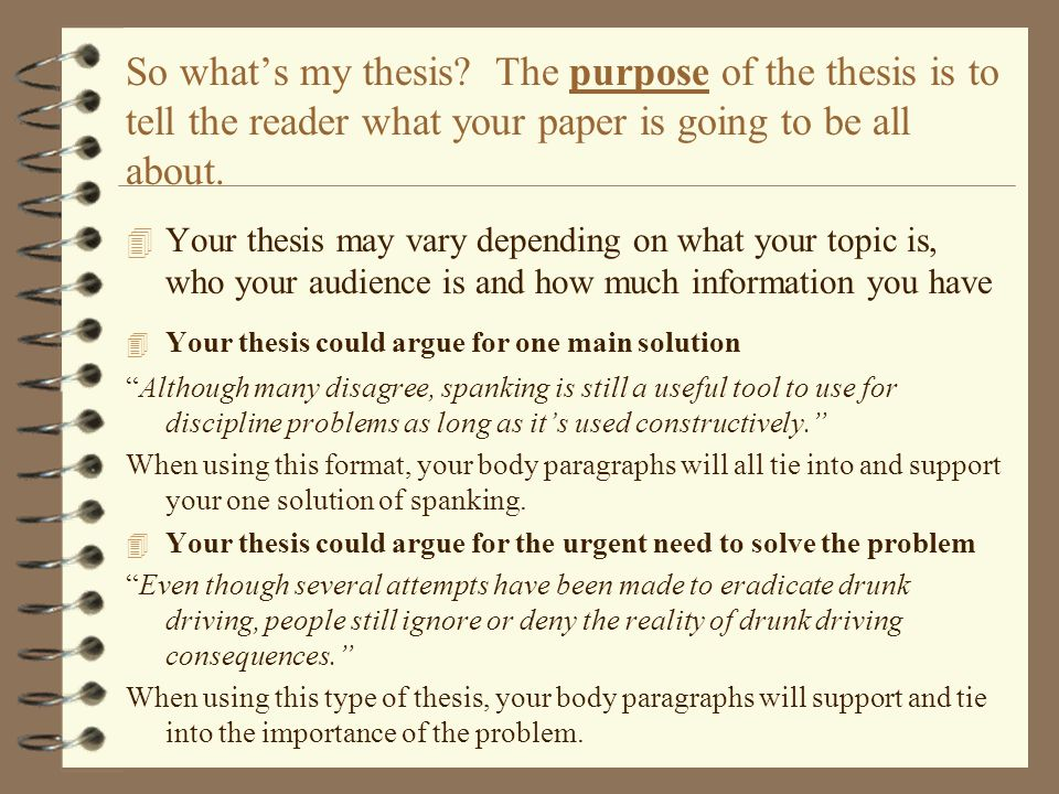 a guide to problem and solution essays ppt video online  so what s my thesis the purpose of the thesis is to tell the reader what your