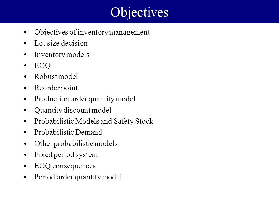 probabilistic inventory models The primary motivation of this thesis is to analyse the few inventory model from   if the model is probabilistic in nature then, the probability theory and stochastic.