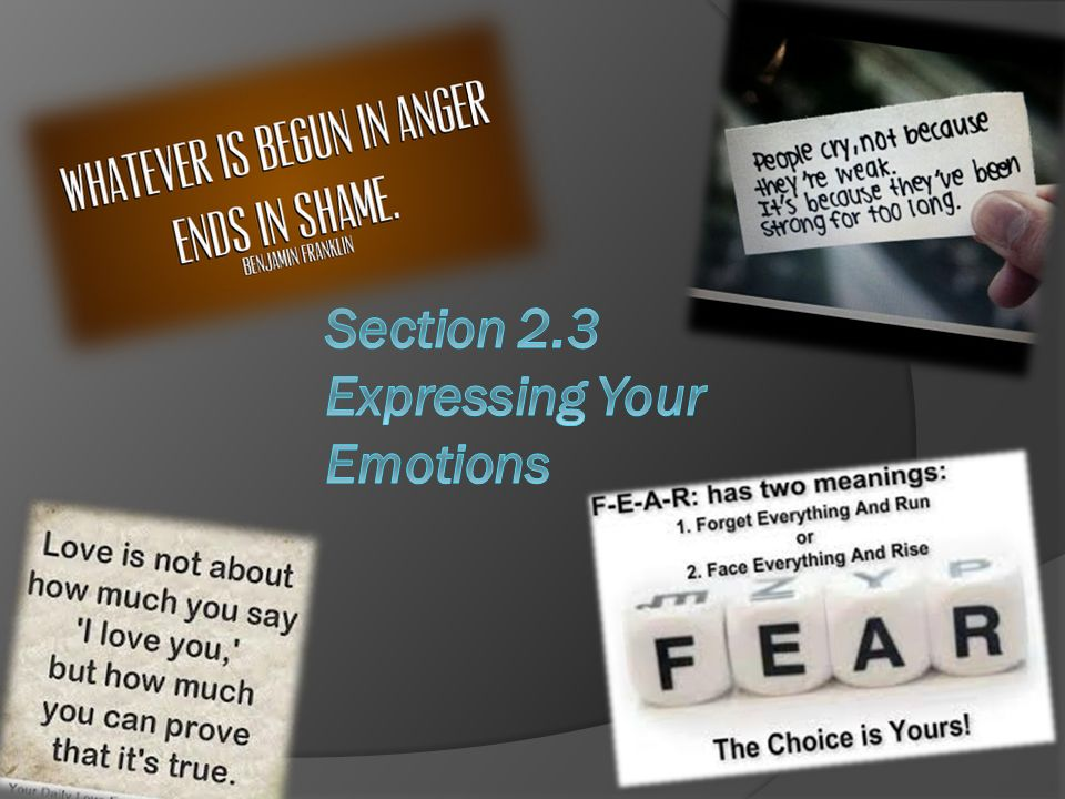 Section 2.3 Expressing Your Emotions