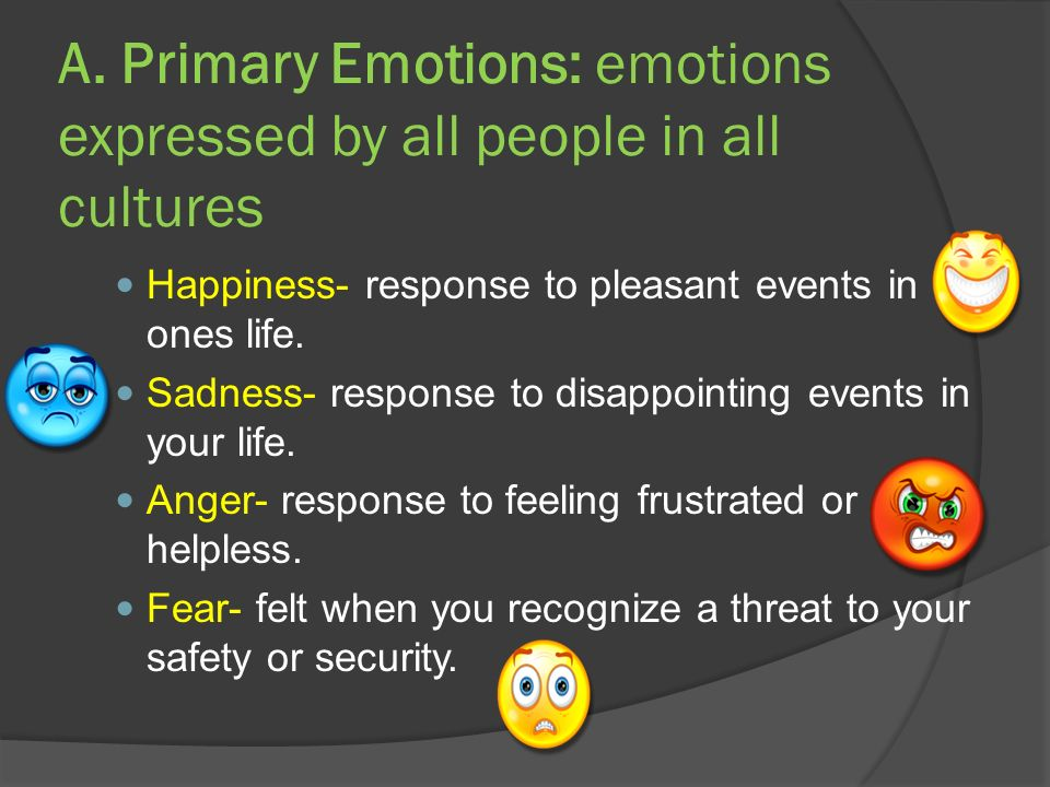 A. Primary Emotions: emotions expressed by all people in all cultures