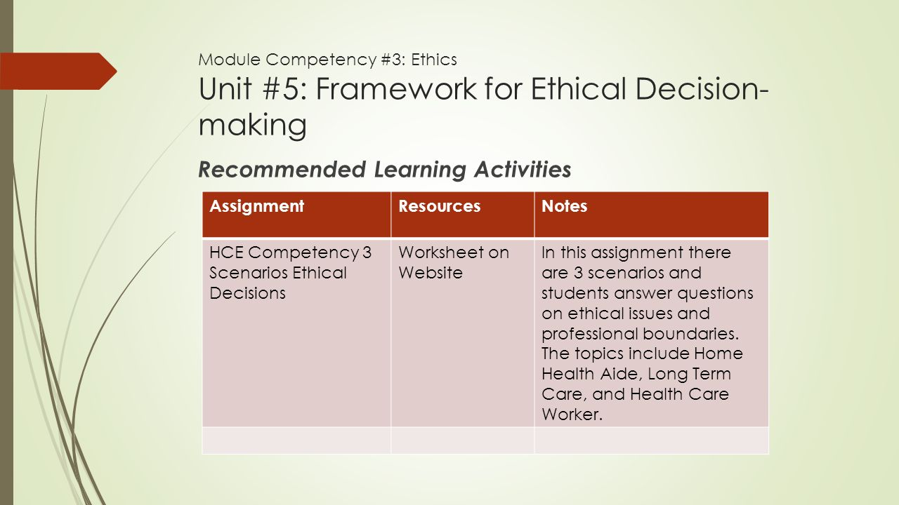 ethical decision scenario worksheet essay Step by step guidance on ethical decision making, including identifying stakeholders, getting the facts, and applying classic ethical approaches.