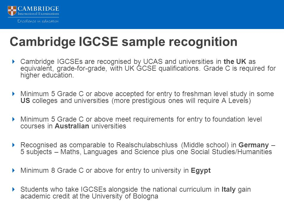 Where will a cambridge qualification take your students ppt cambridge igcse sample recognition yadclub Image collections