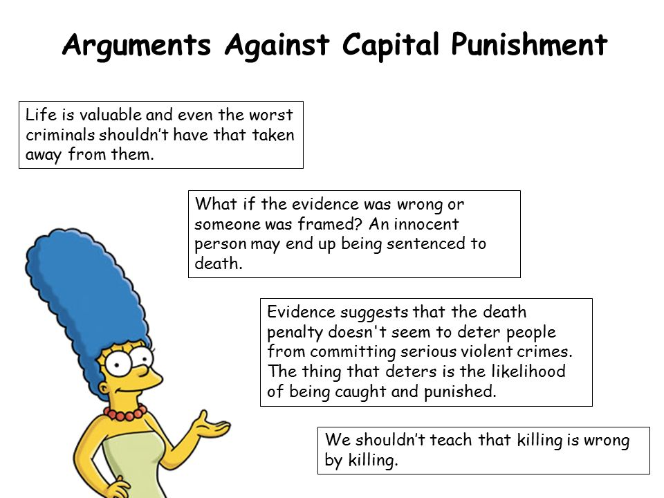 an argument against the capital punishment Detailing the methods of writing a proper against capital punishment essay with reasons that will compel and convince people to clearly understand the important features.
