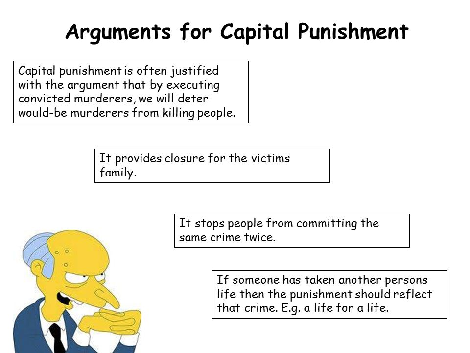 an argument for the use of capital punishment Reasons for capital punishment if this argument works it becomes justification for the abolishment of any kind of we use capital punishment to punish.