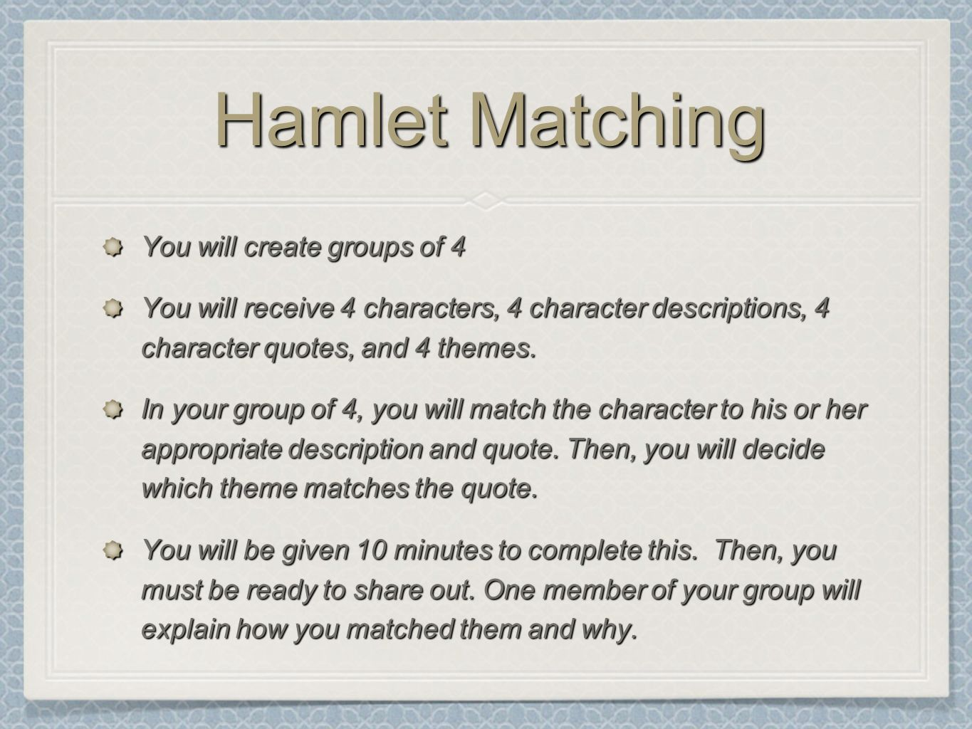 hamlet thematic quote analysis Educational help right here you can example research essay topic: thematic analysis of hamlet – 1,003 words quote shows how persistent hamlet is to show.