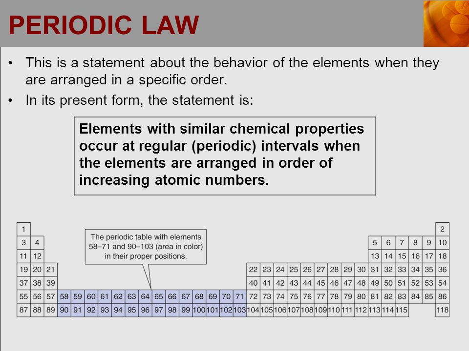 3 periodic law - Periodic Table Law