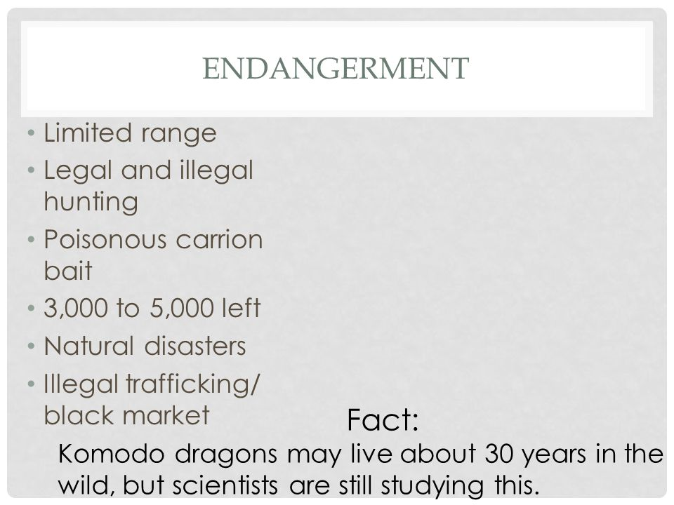 Endangerment Fact: Limited range Legal and illegal hunting