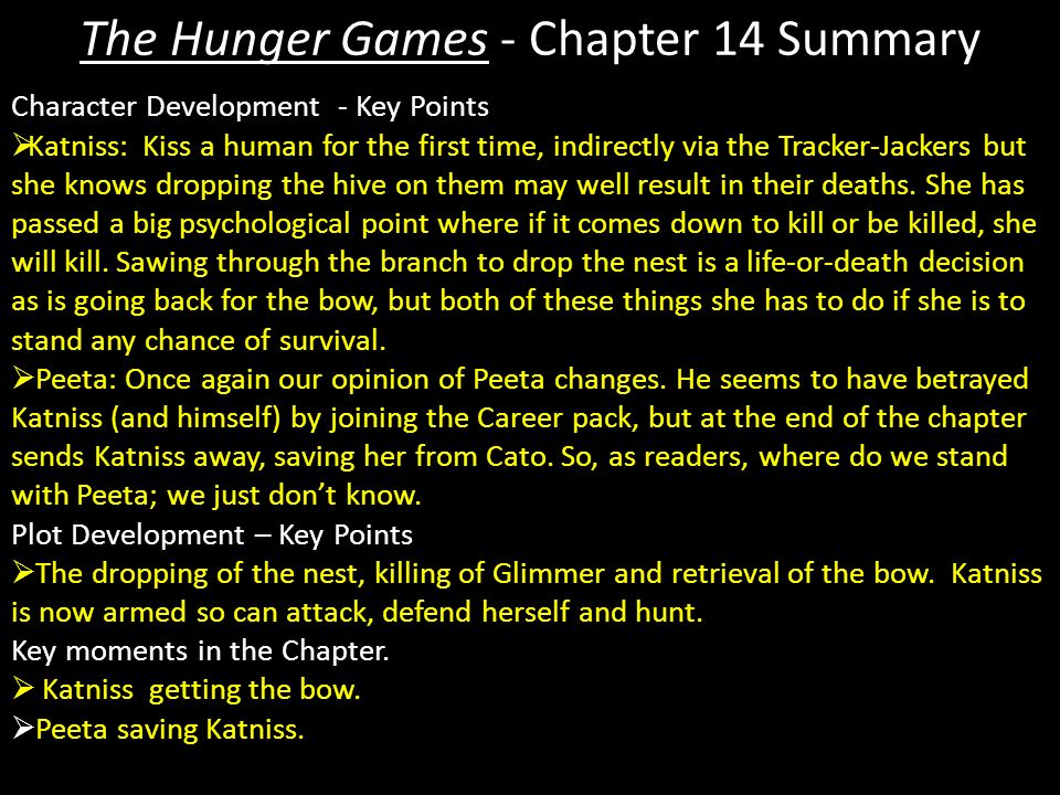 The Hunger Games - Chapter 14 Summary