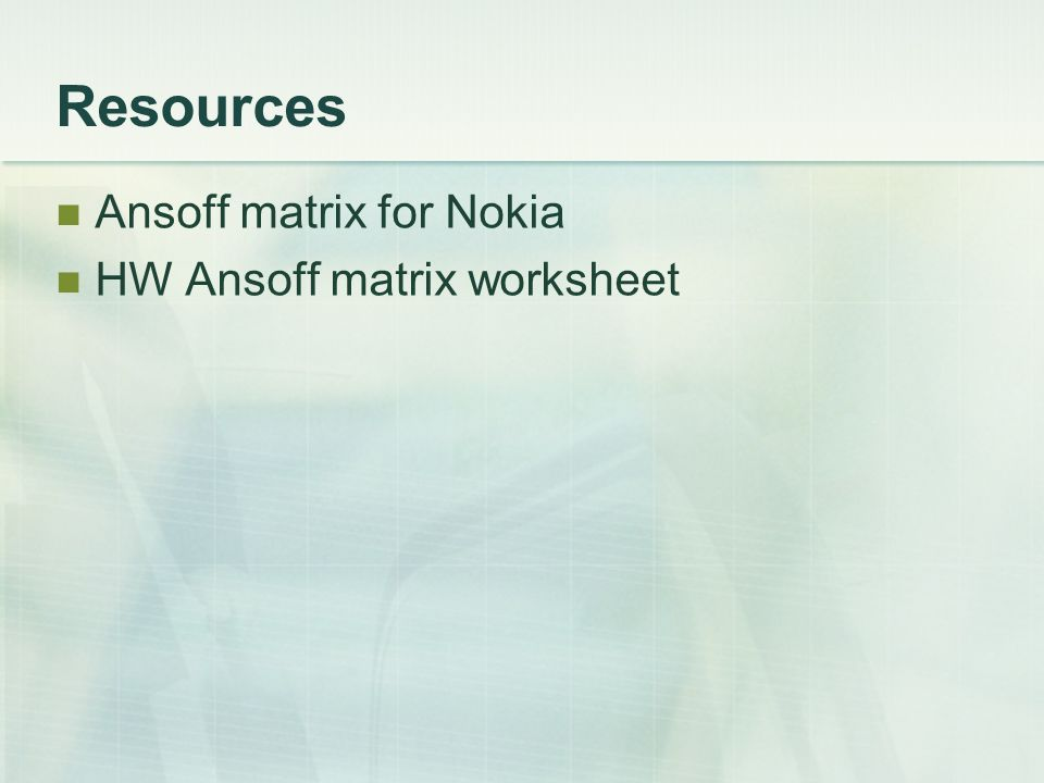 importance of ansoff matrix