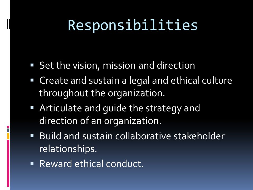 Responsibilities Set the vision, mission and direction