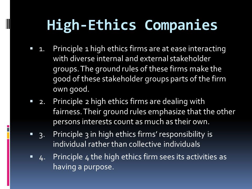 High-Ethics Companies