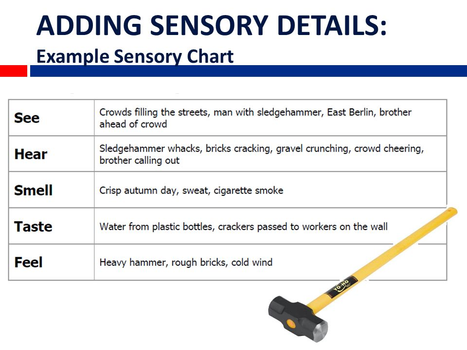 what is sensory imagery examples