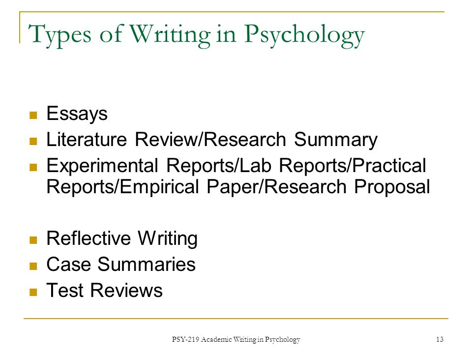 psy academic writing in psychology fall ppt video online  types of writing in psychology