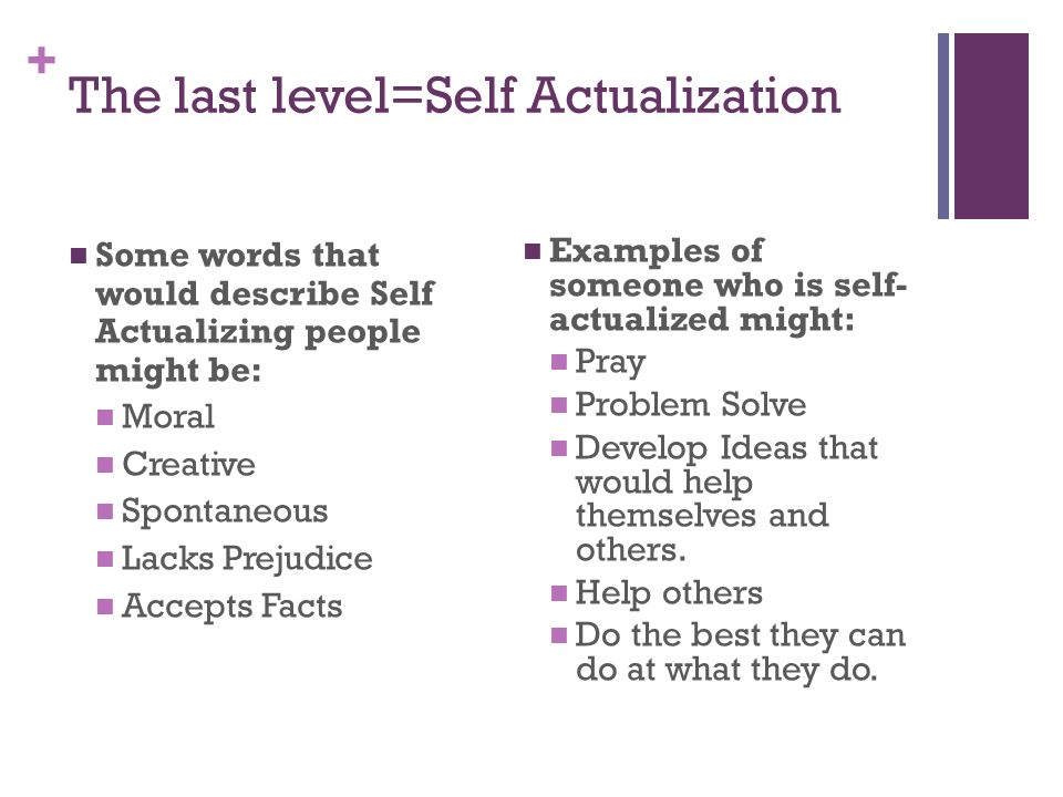The last level=Self Actualization