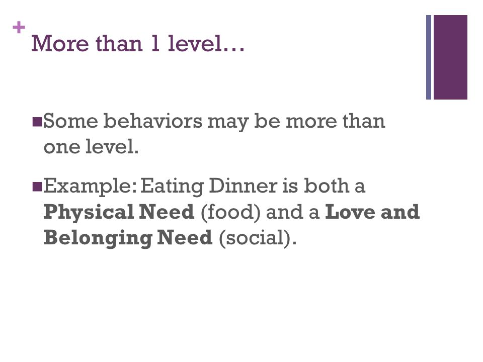 More than 1 level… Some behaviors may be more than one level.