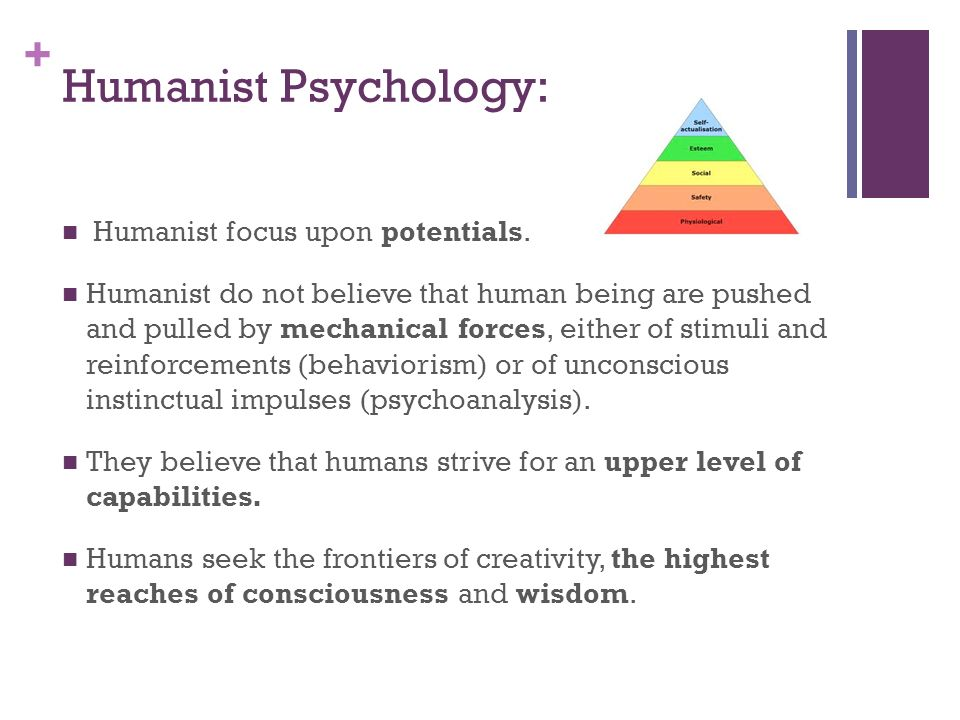 Humanist Psychology: Humanist focus upon potentials.
