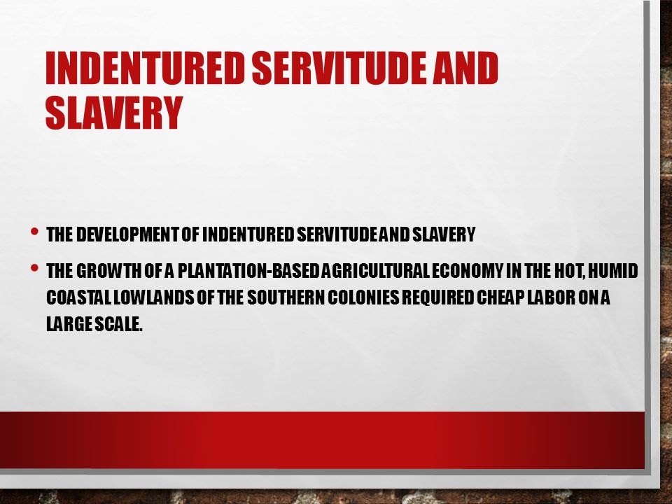 an analysis of the transition between indentured servitude and slavery Transition between indentured servitude and slavery  the development of the new world colonies was established through the use of both indentured servants and slavery in the beginning of colonization, indentured servants were the primary source of labor for the early settlements.