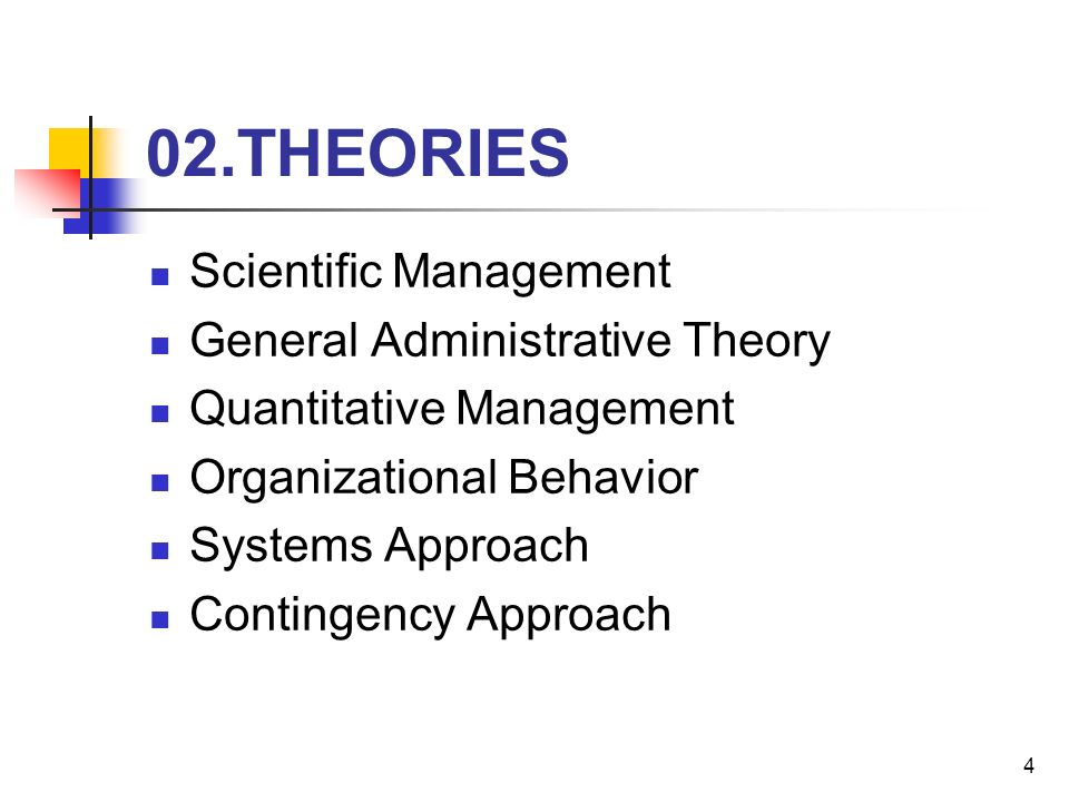 administrative theories of management The evolution of management and organization theory 摘自shafritz, j & e  russell (2009) introducing public administration  6th ed ny: pearson-longman.