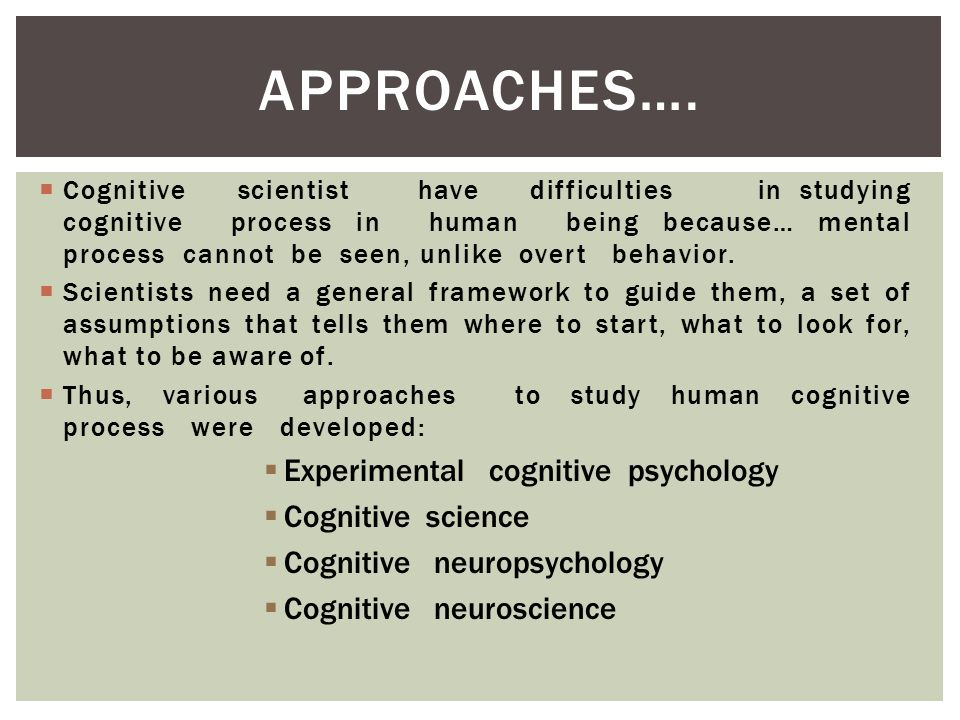 cognitive approaches in psychology Cognitive approach in contrast to behaviorists, cognitive psychologists believe  that your behavior is determined by your expectations and emotions cognitive.